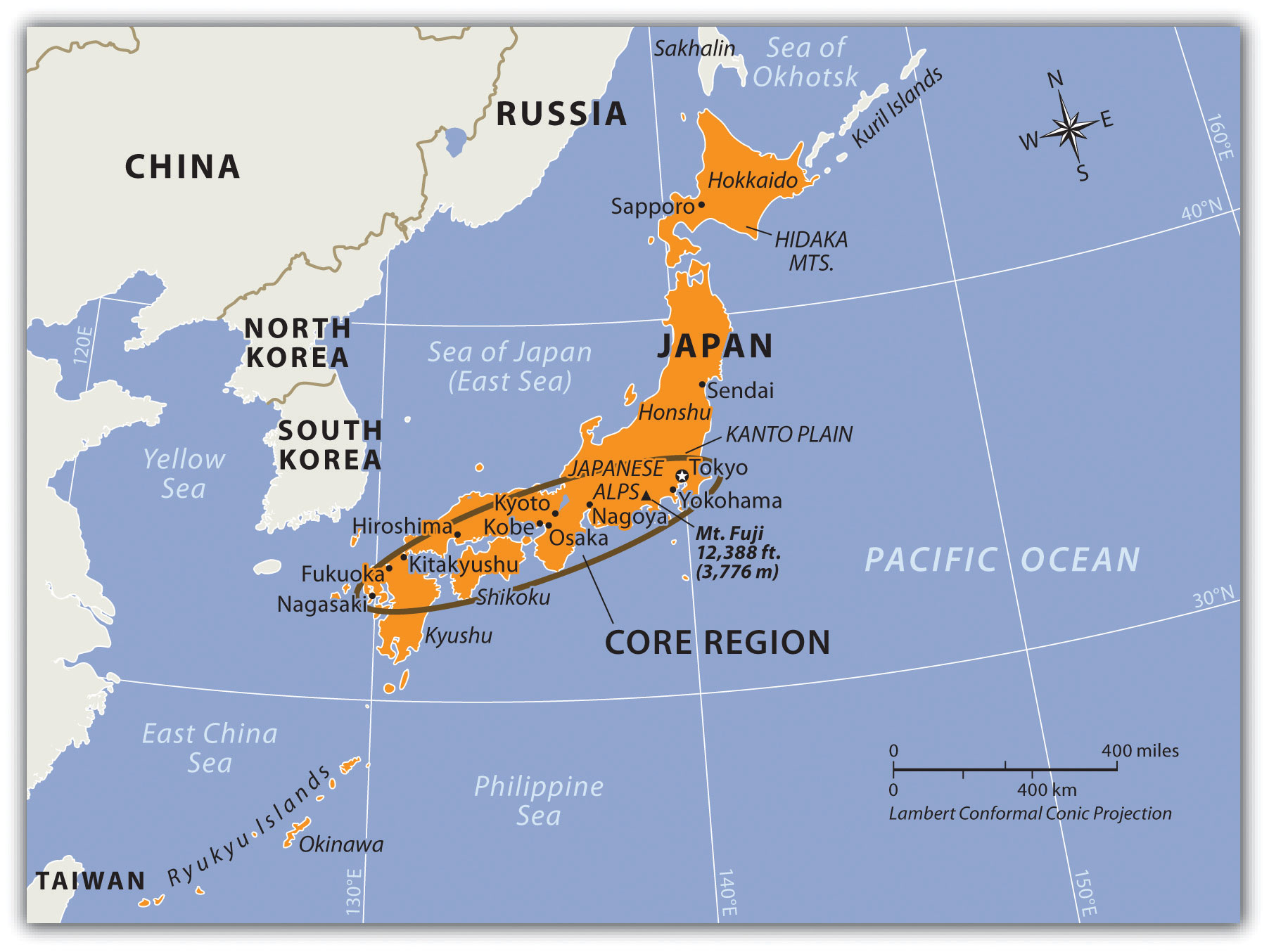 Map Of Asia Japan And China.Japan And Korea North And South