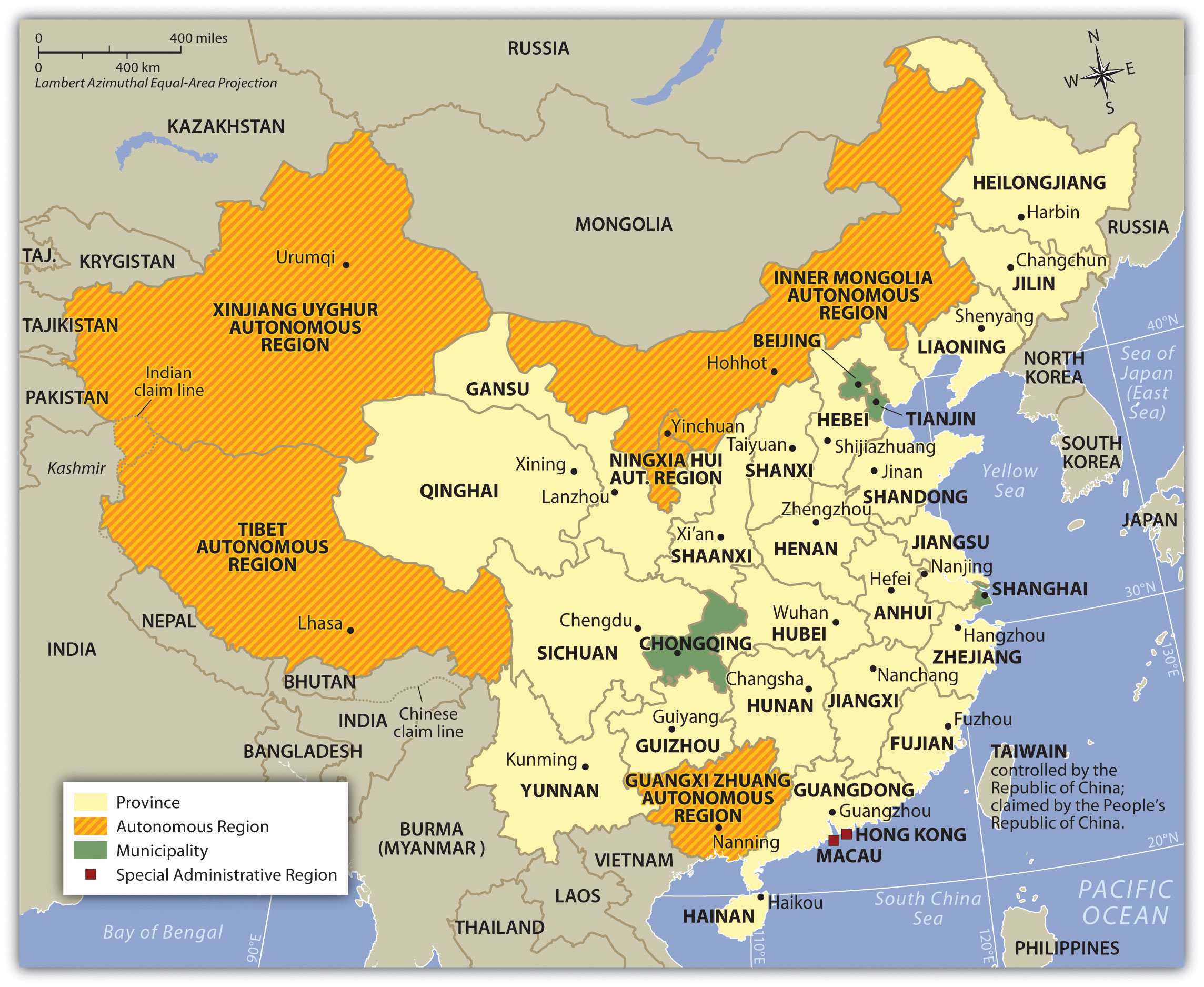 Provinces, districts, and autonomous regions of China.