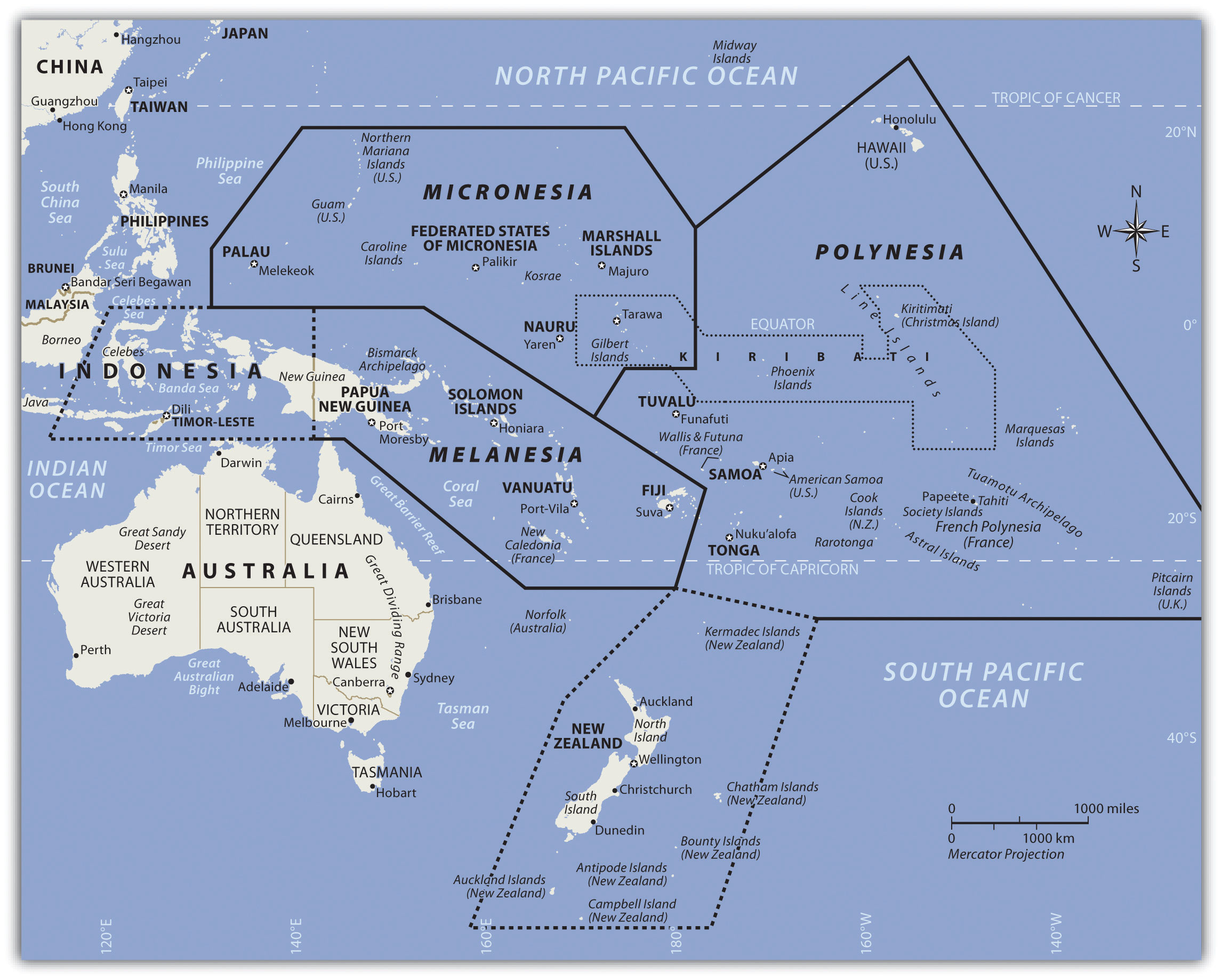 The Pacific And Antarctica - Antarctica cities map